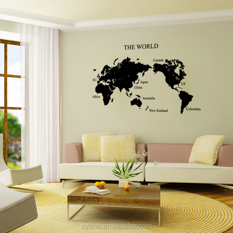 76*125cm Diy Home Decor Art Vinyl Removable World Map Wall Stickers on