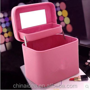 Promotional Women Solid color Leather Makeup Travel Toiletry Fashion Cosmetic Bag with Mirror