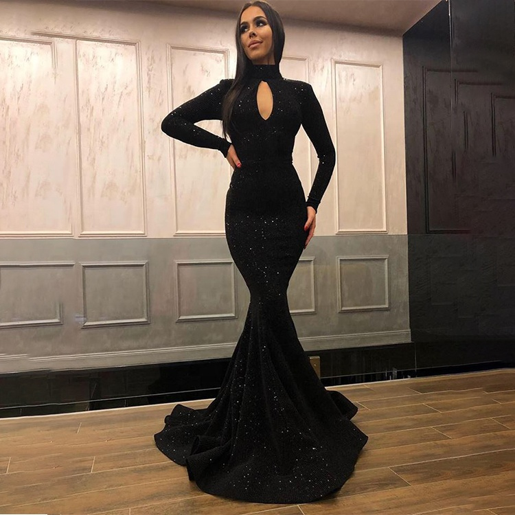 4a728d17a8 Women Sequin Mermaid Evening Dress Sexy Black Key Hole Evening Gown Shiny  Fabric High Collar Long Sleeve Prom Dresses 2019
