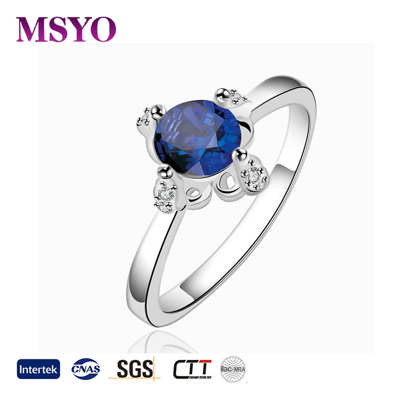 hot sale 925 sterling silver sapphire stone jewelry women ring