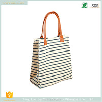 2017 New products Custom Striped canvas bags shopping bag women handbags student bag