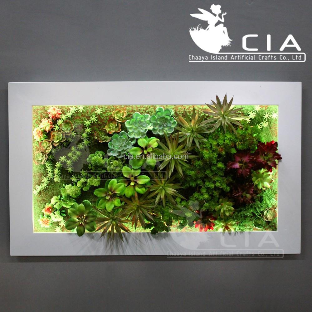 Vertical Wall Decor Artificial Plants Arrangement Mixed Succulents Art