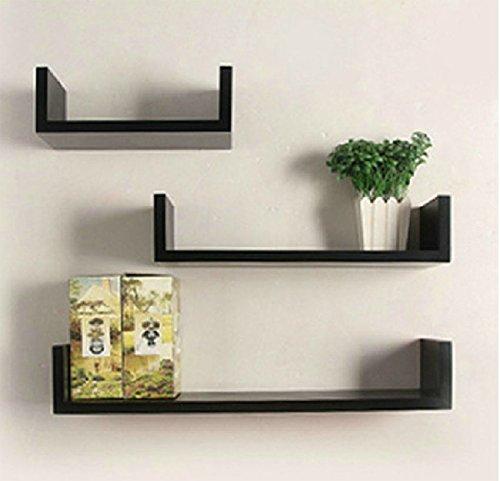 Hindom U Shape Floating Wood Wall Shelves Set of 3 Storage Display Shelf DIY, Black (US STOCK)