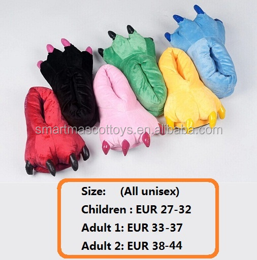 Wholesale animal onesie matching stuffed plush paw slipper adult paw slipper