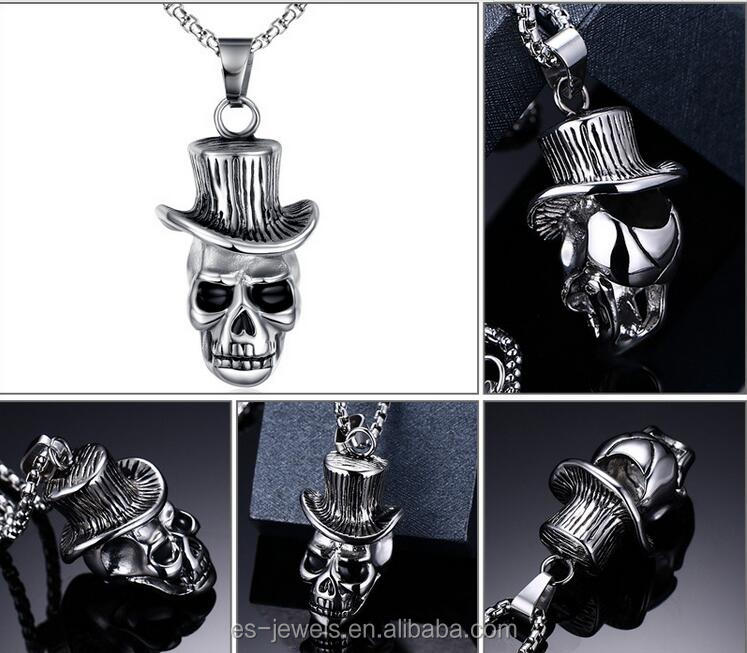 Stainless steel cremation skull pendant mini cowboy sombrero hat