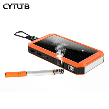 15000mah solar power bank light up cigarette gift with waterproof and dual flashlight powerbank