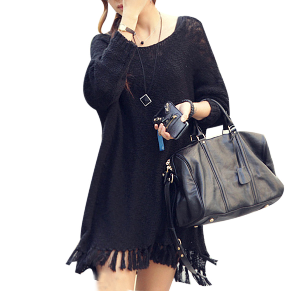 2015 New Autumn Winter Fashion Tassel Dress Women Full Sleeve Knitted Sweater Loose Vestidos Black/Beige Solid Color Hot Sale