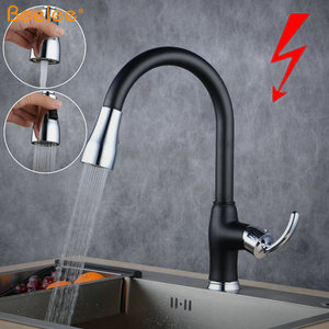 Beelee BL7083BDY Hot Sale Germany Amazon Black Kitchen Mixer Tap Pull Out Spray Low Pressure Faucet