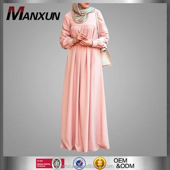 f41fafa1637 Fashion Women Muslim Jilbab Abaya Pleated Design Kebaya Modest Long Sleeve  Islamic Exquisite Pink Maxi Dresses