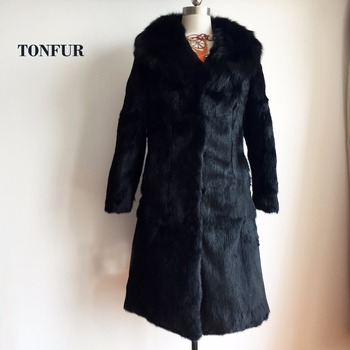 Super X Long Genuine Natural Real Rabbit Fur Coat For Women Winter ...