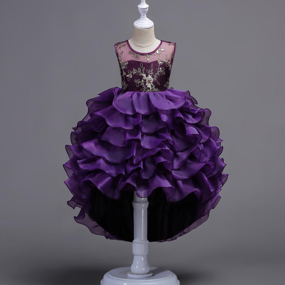 Niños bordados noche vestido de fiesta chica vestido de dama de ...