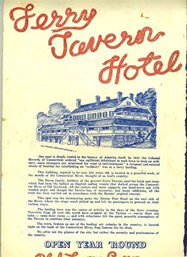 Ferry Tavern Hotel Menu Old Lyme Connecticut 1960's