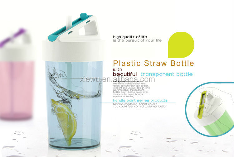 350ml insulated plastic water bottle with straw