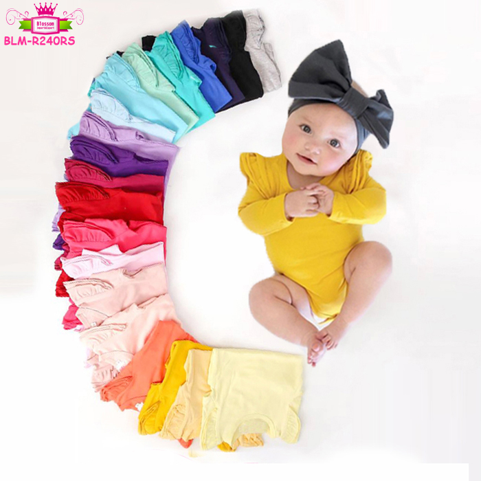 2019 Wholesale Solid Color 3 Layers Triple Ruffle Baby Futter Sleeve Onesie Bodysuit Baby Girls Long Flutter Sleeve Romper