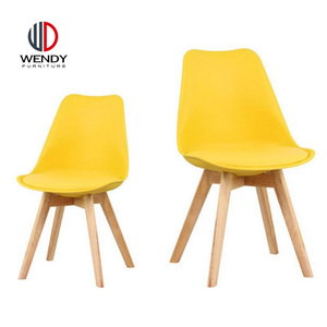 Manufacturer Wood Design Dining Plastic Chairs with PU Cushion