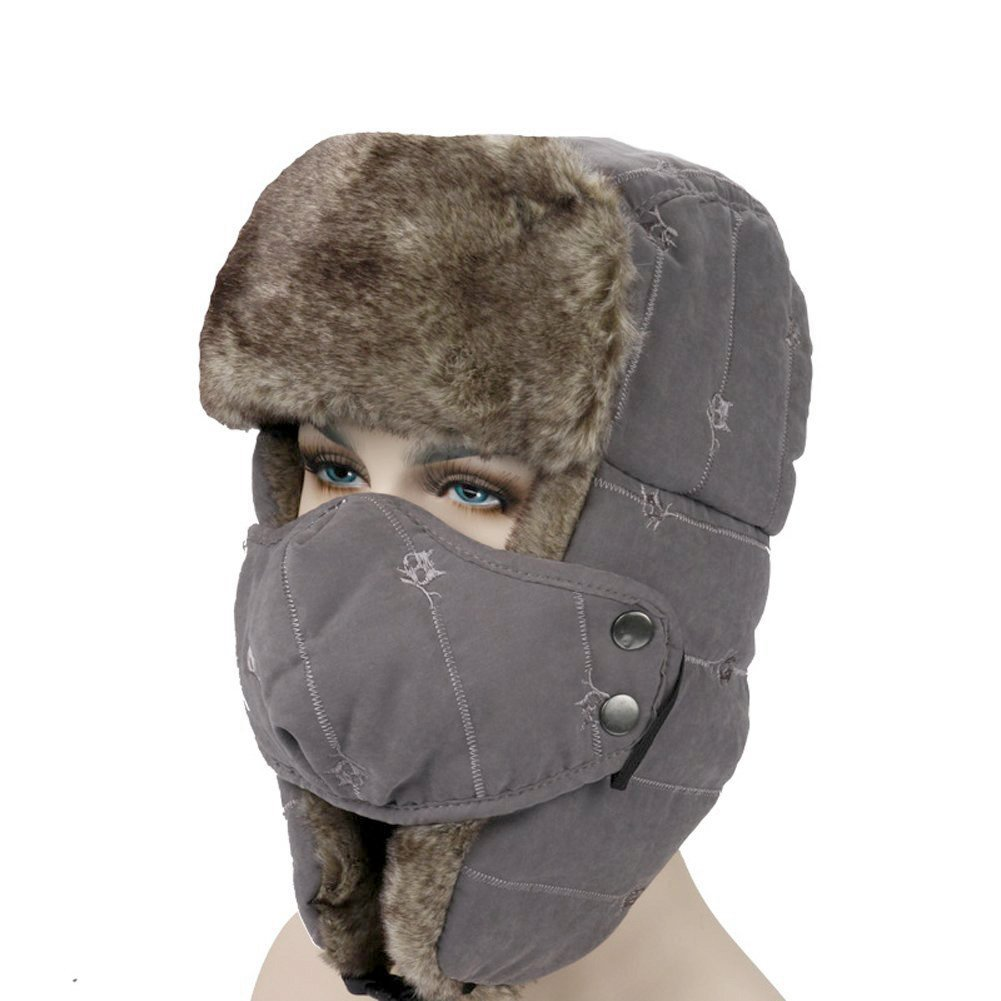 00b9ecaddaf Get Quotations · OneTigris Embroidered Winter Trapper Hat Warm Hunting Hat  Ushanka Ear Flap Chin Strap with Windproof Mask