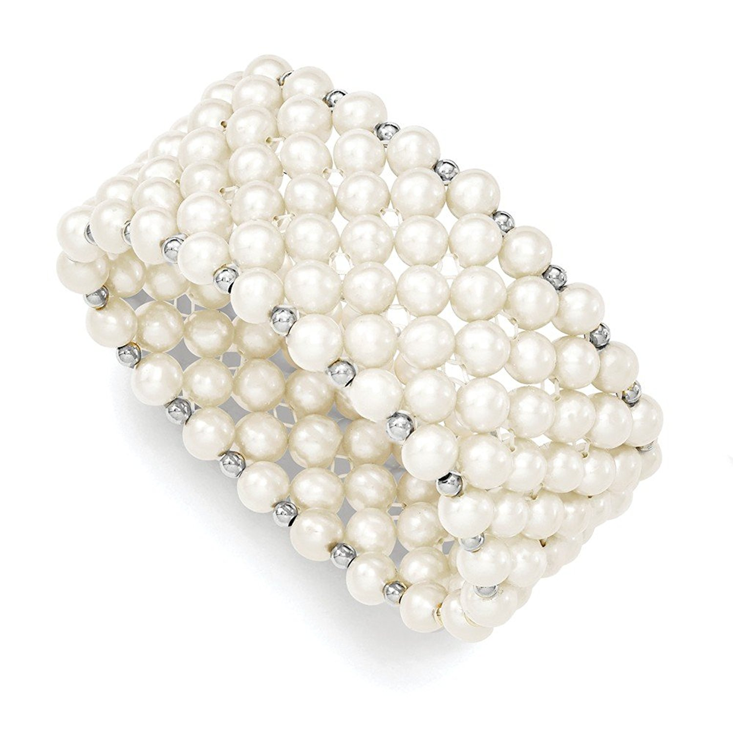 Sterling Silver White 6-7mm Freshwater Cultured Potato Pearl Stretch Bracelet