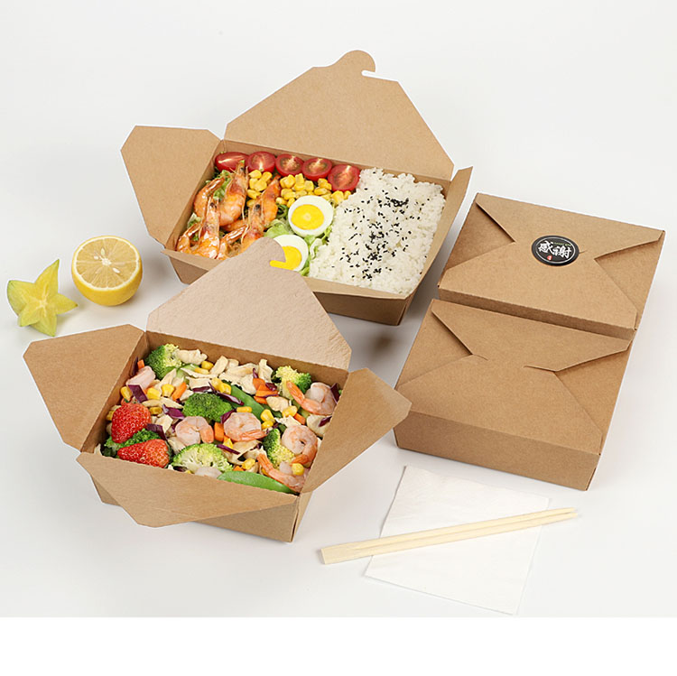 Disposable Kraft lunch box paper fast food packaging carry out take out food box