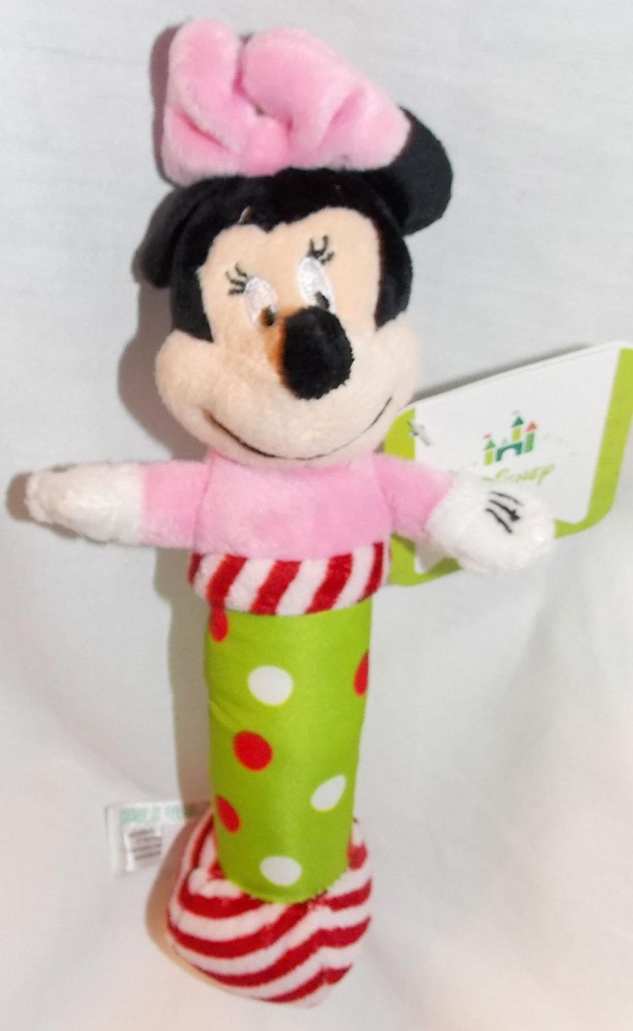 "Disney Baby 7"" Plush Christmas Minnie Mouse Rattle"