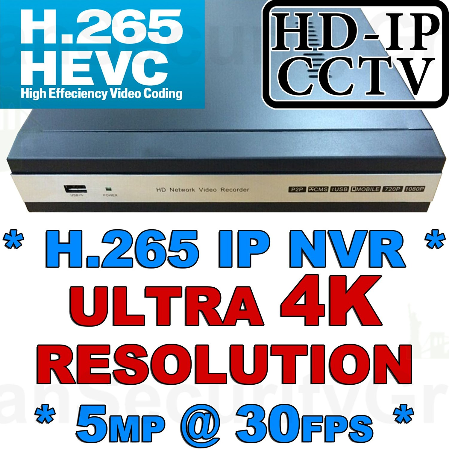 USG New Release! * 4 Channel Ultra 4k High Resolution IP Security NVR: **H.265 Compression**, Four Channels x 5MP @ 30FPS, Max 6TB HDD, ONVIF 2.4, HDMI 4K Ultra High Definition Video Output, 2x USB Ports, ONVIF 2.4 *** Easy Plug & Play *** View Cameras Remotely On Phones + Computers