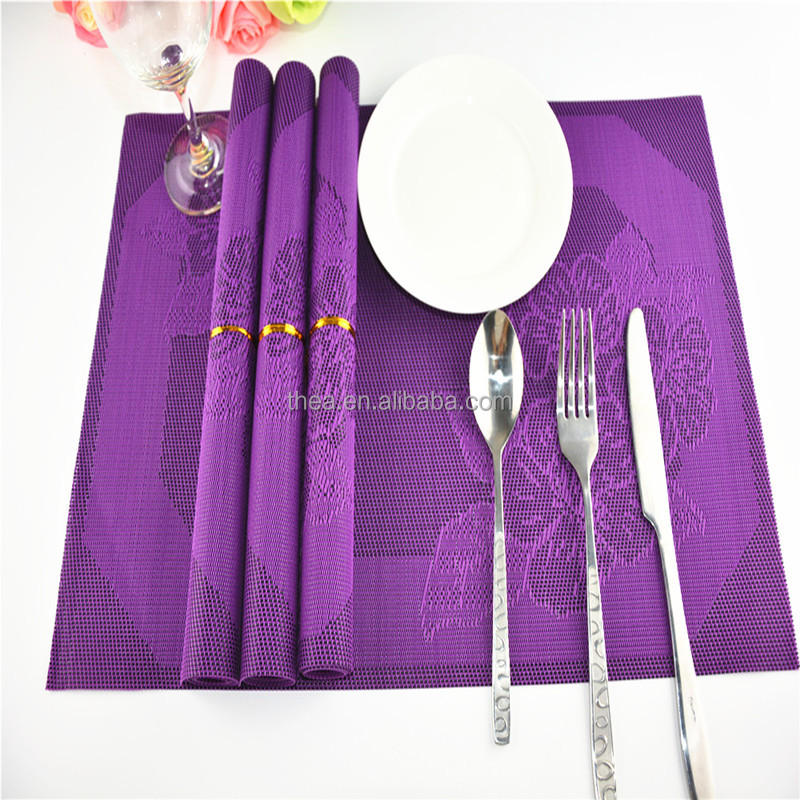 Modern Fashion purple Flower PVC Dining Table Placemat / Tableware Pad / Coffee Tea Place Mat