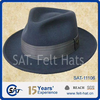 bd7521b6e49 Men s 100% Wool Felt Light Blue Fedora Hat - Buy Fedora Hat
