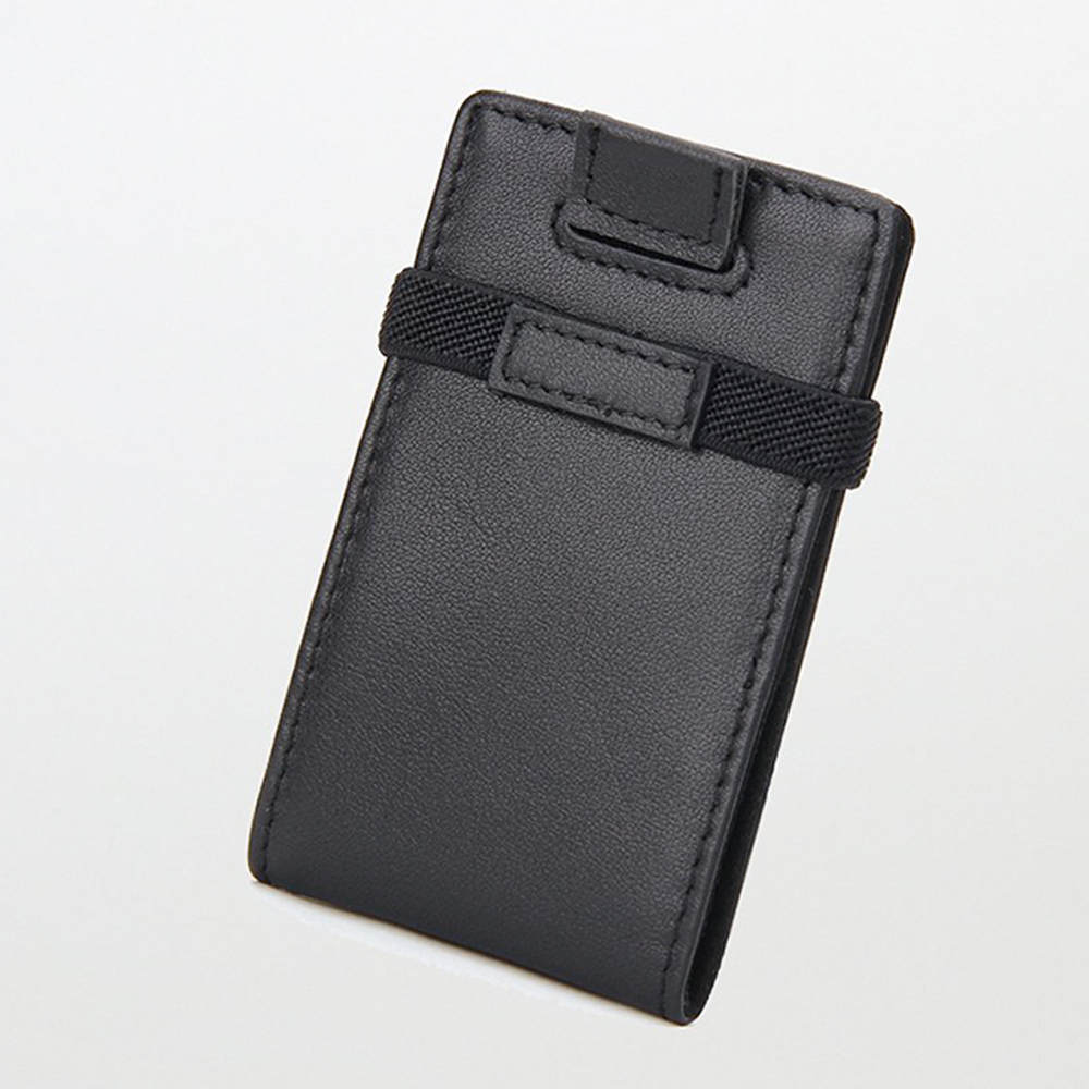 Genuine Leather Mini Wallet Card Holder Minimalist Front Pocket Wallet with elastic band & RFID Blocking