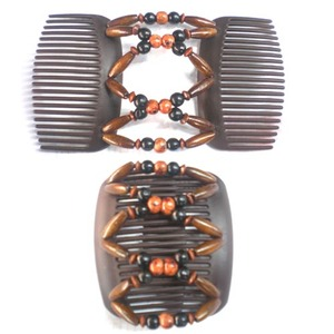 African butterfly Elastic Wooden Beaded Magic Hair Comb for Gifts,Korean Style Costume Twins Hair Comb