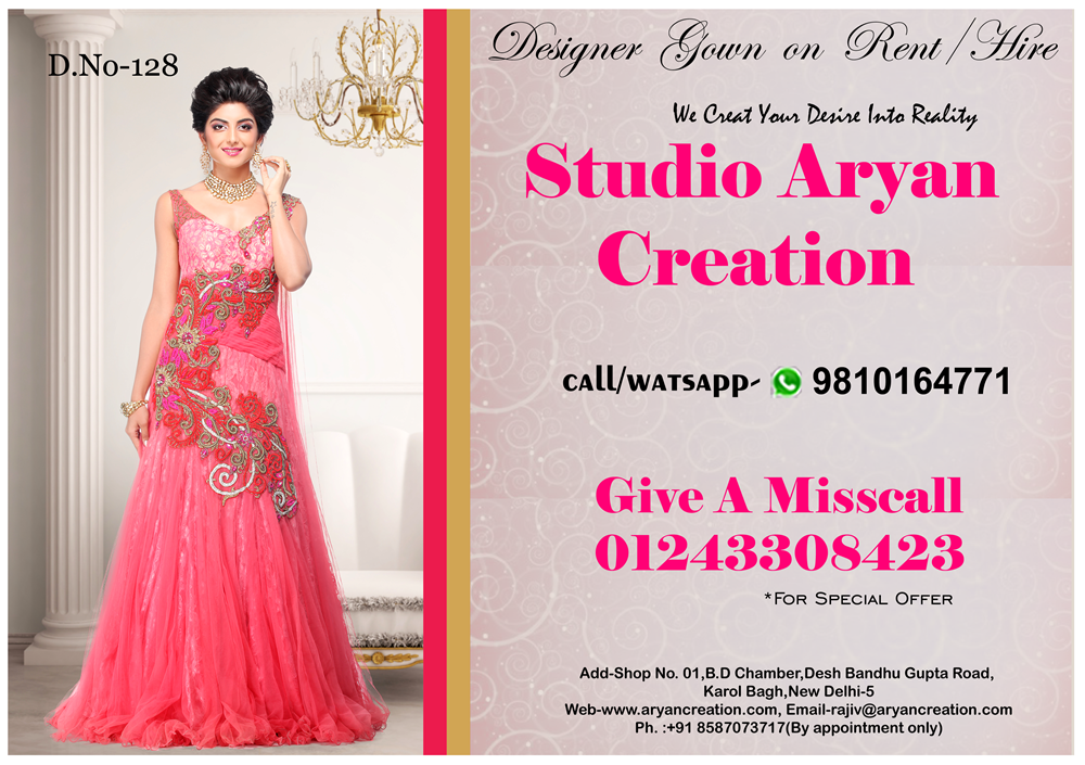 Designer Gowns On Rent/hire - Buy Latest Designer Evening Gowns ...