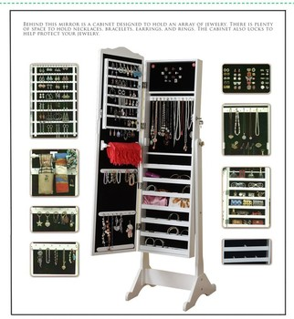 Malaysia Style Standing Mirror Jewelry Storage Wardrobe, Home Furniture