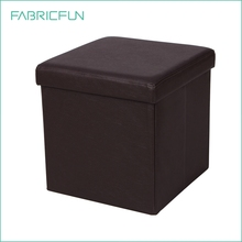 Folding storage ottoman, faux leather folding storage box with lid, cube foot rest stool seat