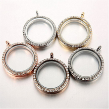 20mm 25mm 30mm rhinestone living memory glass locket round floating locket necklace
