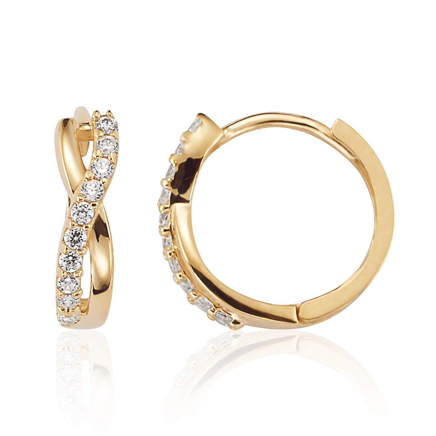 c4cc6029c Get Quotations · Solid and CZ Infinity Huggie Hoop Earrings in 14K Yellow  Gold