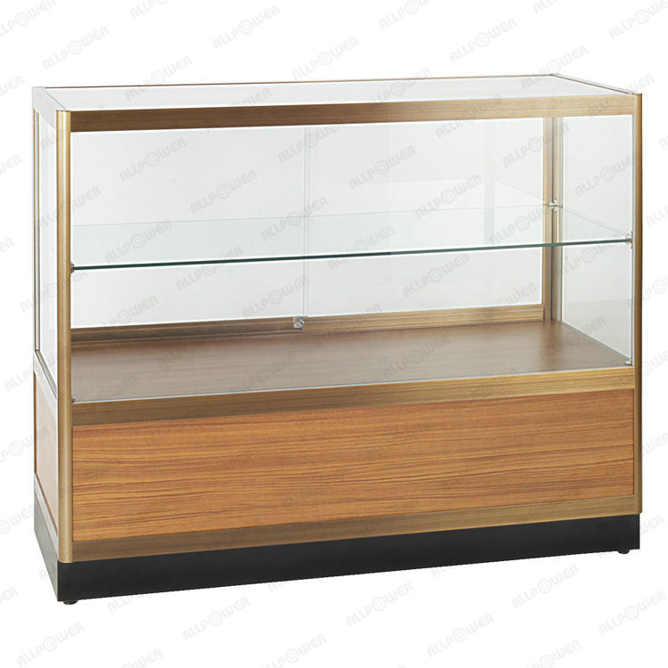 Glass counter cabinet gold aluminum frame display rack/glass display case with two strages