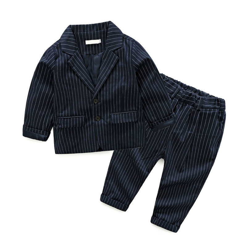 Fashion wedding children sets gentleman formal baba suit design stripe boys suits