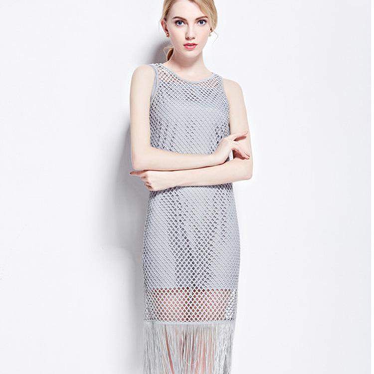 cd860322144d3 Get Quotations · Casual Mesh Tassel Dress Sleeveless Beach Dress Thin  Hollow Out Fringed Crochet Dress Europe 2015 New