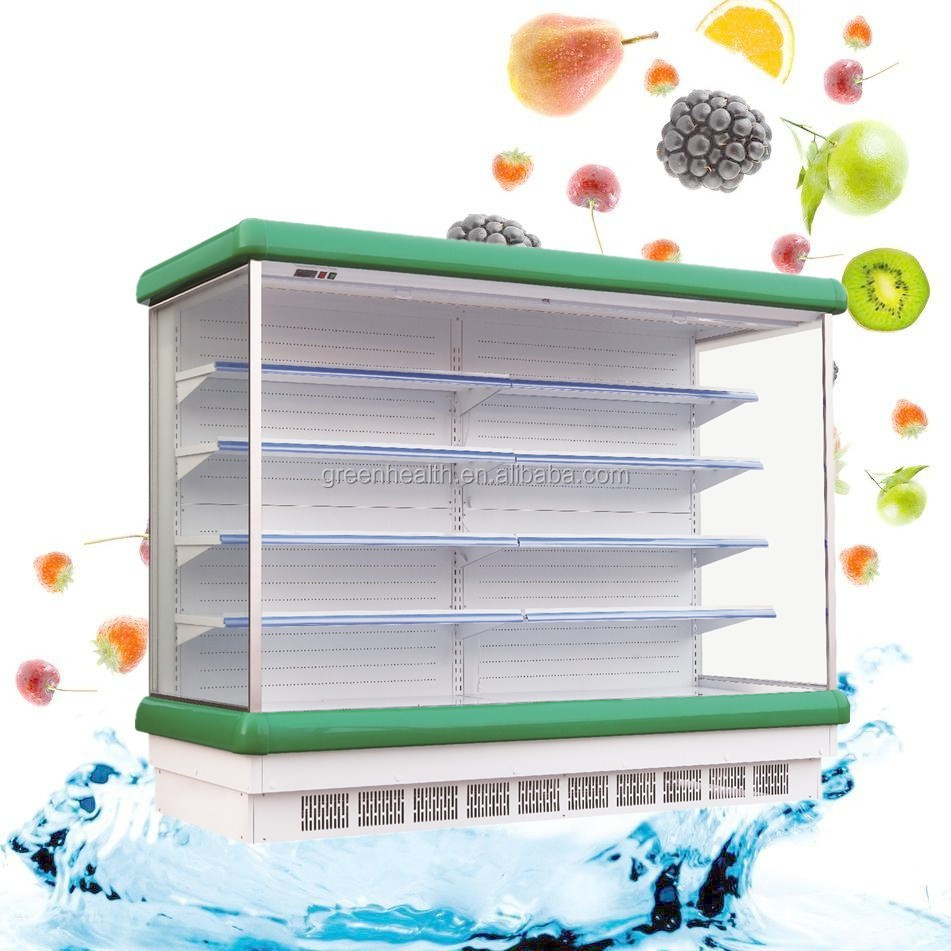 Green&Health open chiller / refrigerate cooler / supermarket vegetable and fruit display with low price for North America market