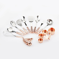 Kitchen Copper Utensils of Stainless Steel Copper Rose Gold Kitchen Cooking Tools Set & Gadget Copper Measuring Cup & Spoon
