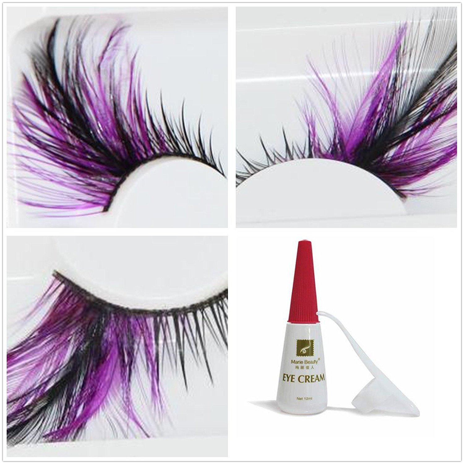 22baac6ec86 Get Quotations · Beauty II Girl Fancy Dress Dance Party Makeup Feather  False Eyelashes Eye Lashes Thick Extra Long