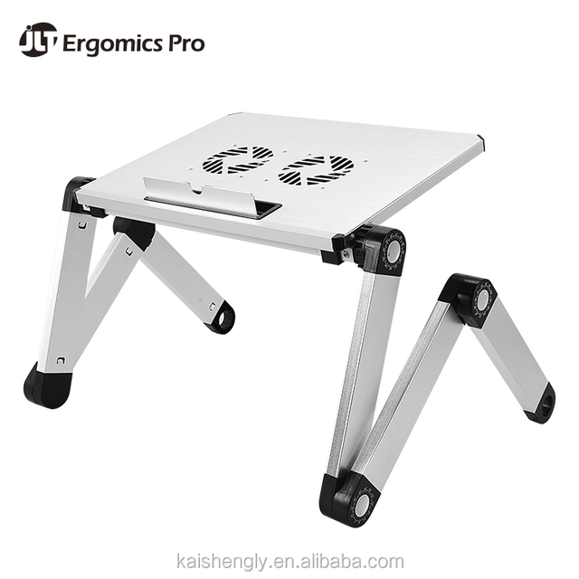 Adjustable Height And Angle Bed Laptop Stand Table With Cooling Fans