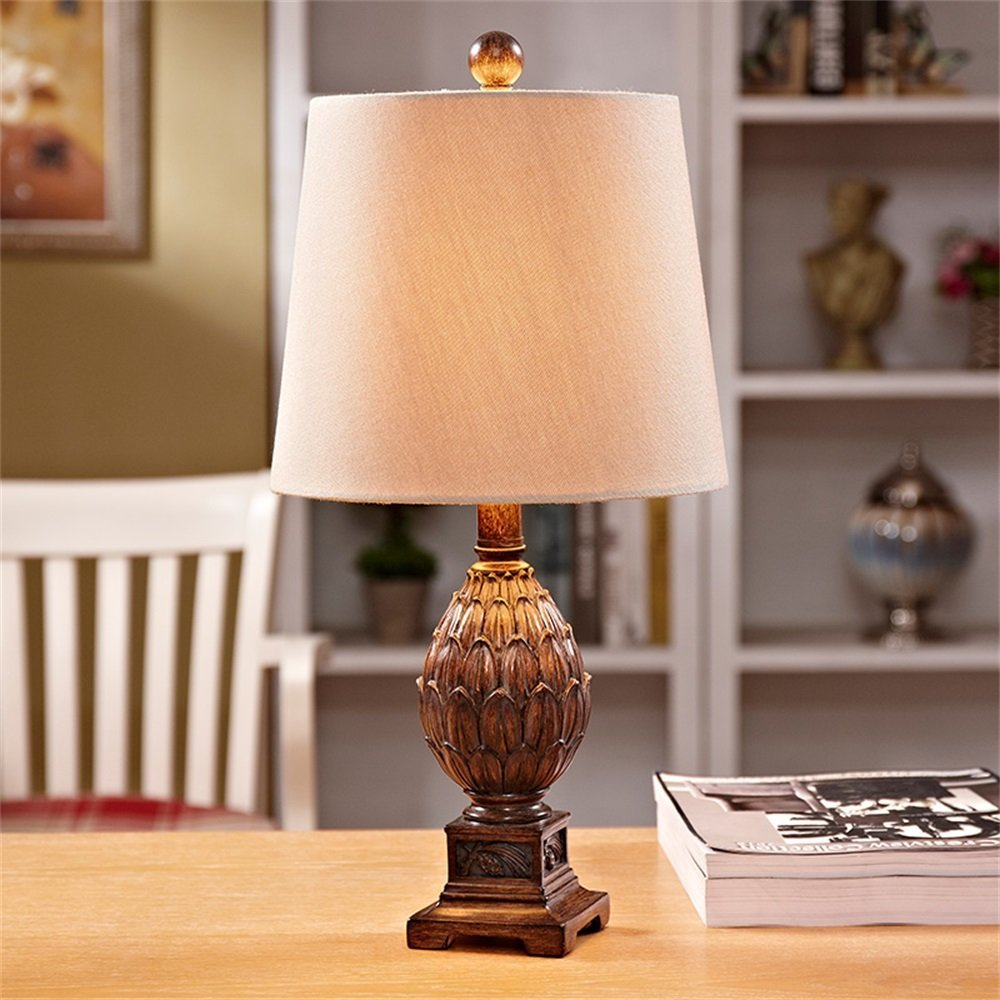WENBO HOME- Romantic Warm Chinese Resin Table Lamp Living Room Study Bedroom Bedside Table Lamp -Desktop lamp