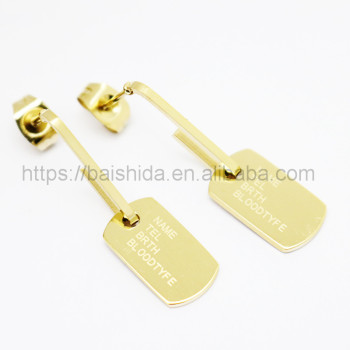new charm engrave polished dangling earrings 18k gold jewelry