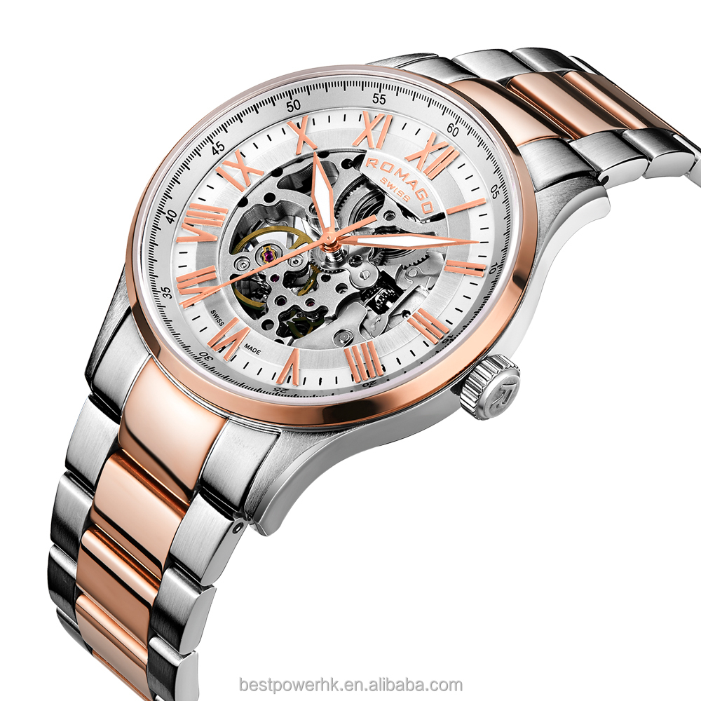 ROMAGO Rose Gold Stainless Steel Sapphire Crystal Automatic famous brand mechanical watch for <strong>mens</strong>