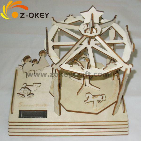 Personalized design 3D merry-go-round made by plywood for decoration