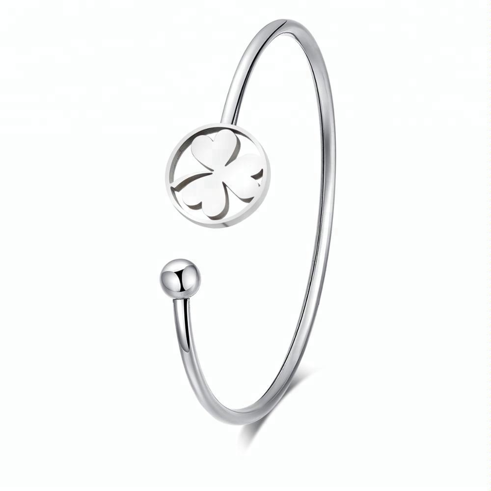 Simple Stainless Steel Flower Cuff Bangle Bracelets in Silver, Gold, and Rose Gold Set