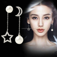Wholesale Fashion Jewelry 2017 New Pearl Shiny Zircon Star Moon Design 925 Sterling Silver Stud Earrings for Women Jewelry Gift