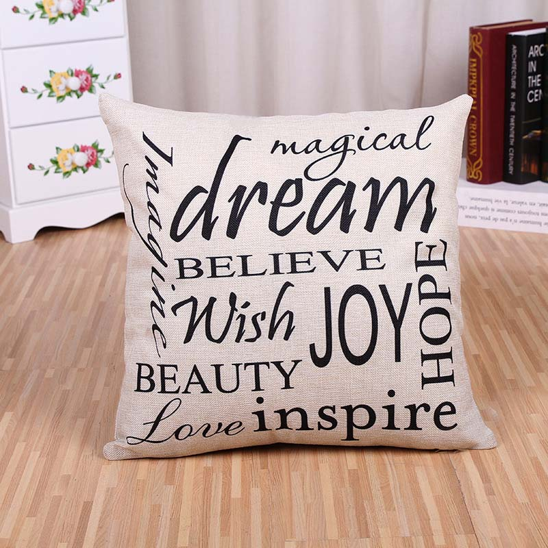 Wholesale 45*45cm Modern Simple English Letter Pillow Case Cushion Cover Sofa Cushion latest design