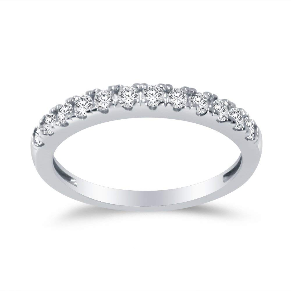 Solid 925 Sterling Silver 2.5mm Round Cut Anniversary Ring Wedding Band Highest Quality CZ Cubic Zirconia 1.0cttw.