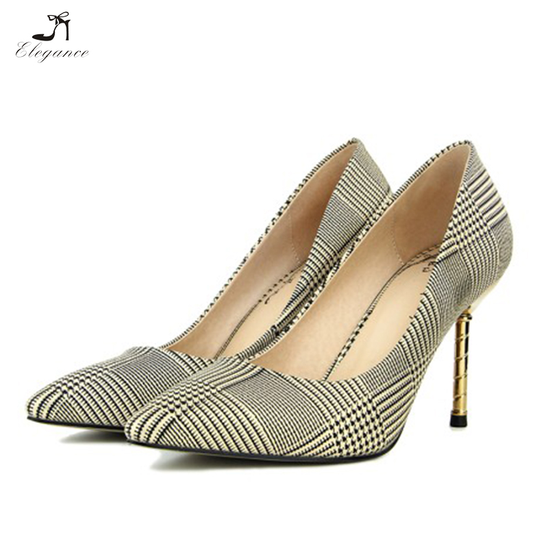 2018 Elegant Western Vintage Lattice Pattern Commuting Work Office Stiletto Pumps Shoes Plaid Pointed Toe Women High <strong>Heels</strong>