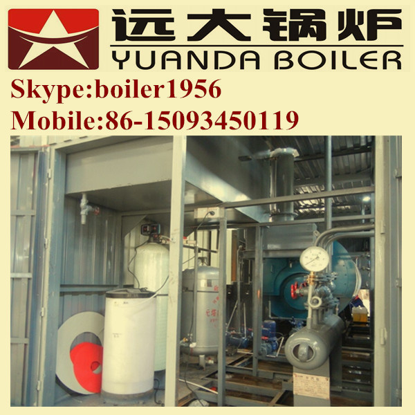 Oil fired container steam boiler room